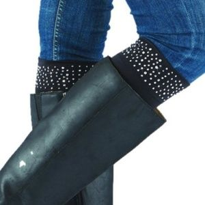 Too cute knitted Boot Cuffs with rhinestones